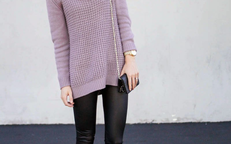 Leather Leggings and Cowl Sweater