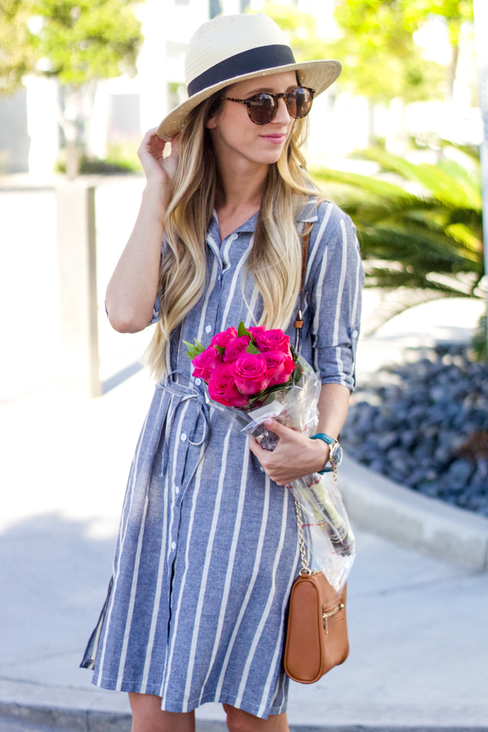 striped dress and hat