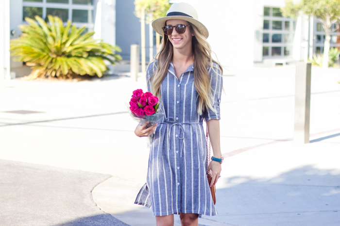 striped shirt dress and hat