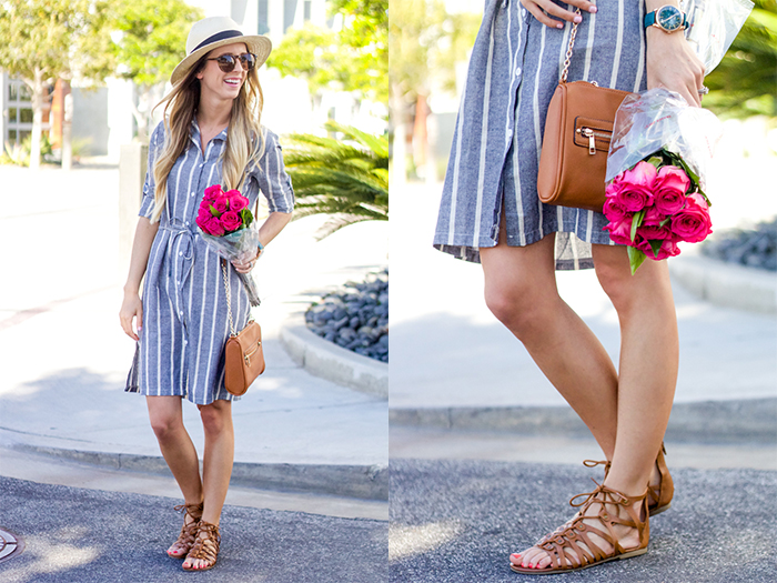 spring dress and sandals