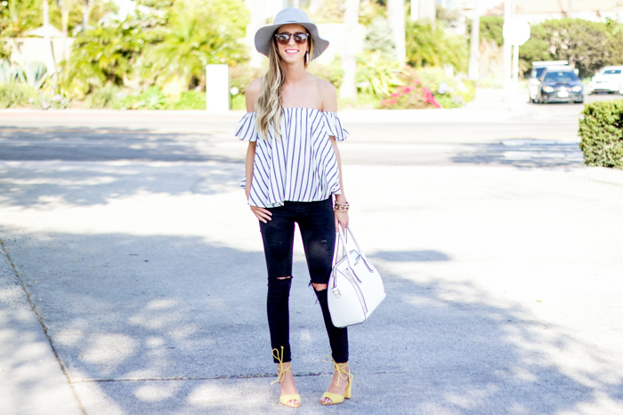 921edf33cf330f striped off the shoulder top outfit