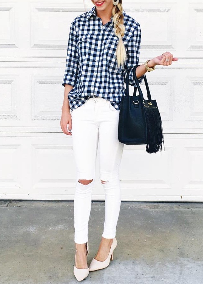 gingham and white outfit