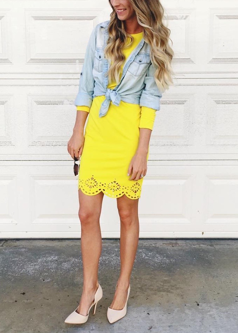 yellow dress and chambray top