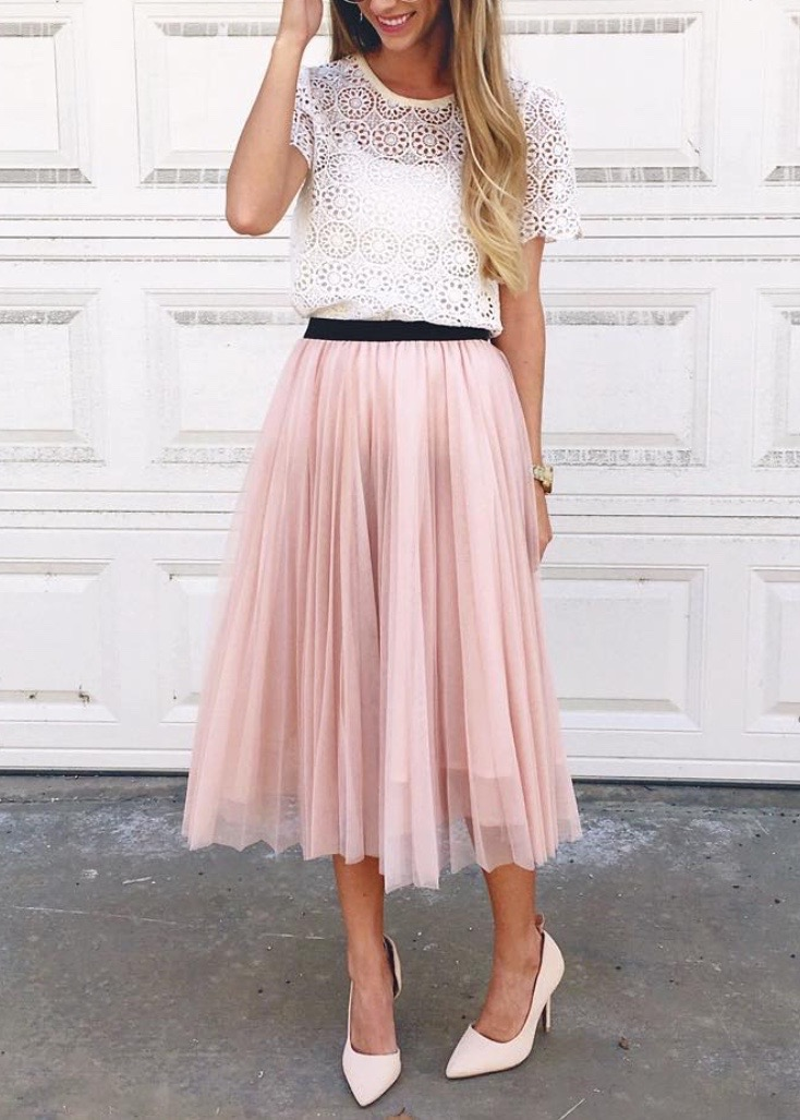 pink midi skirt and lace