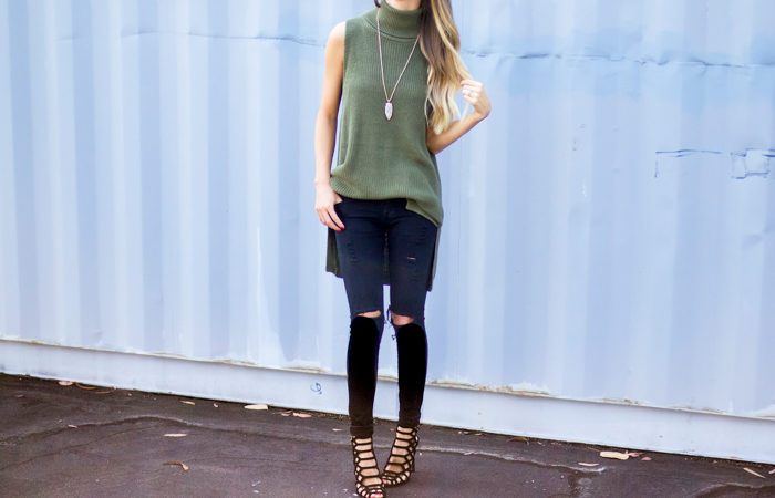 Sleeveless Turtleneck Fall Outfit