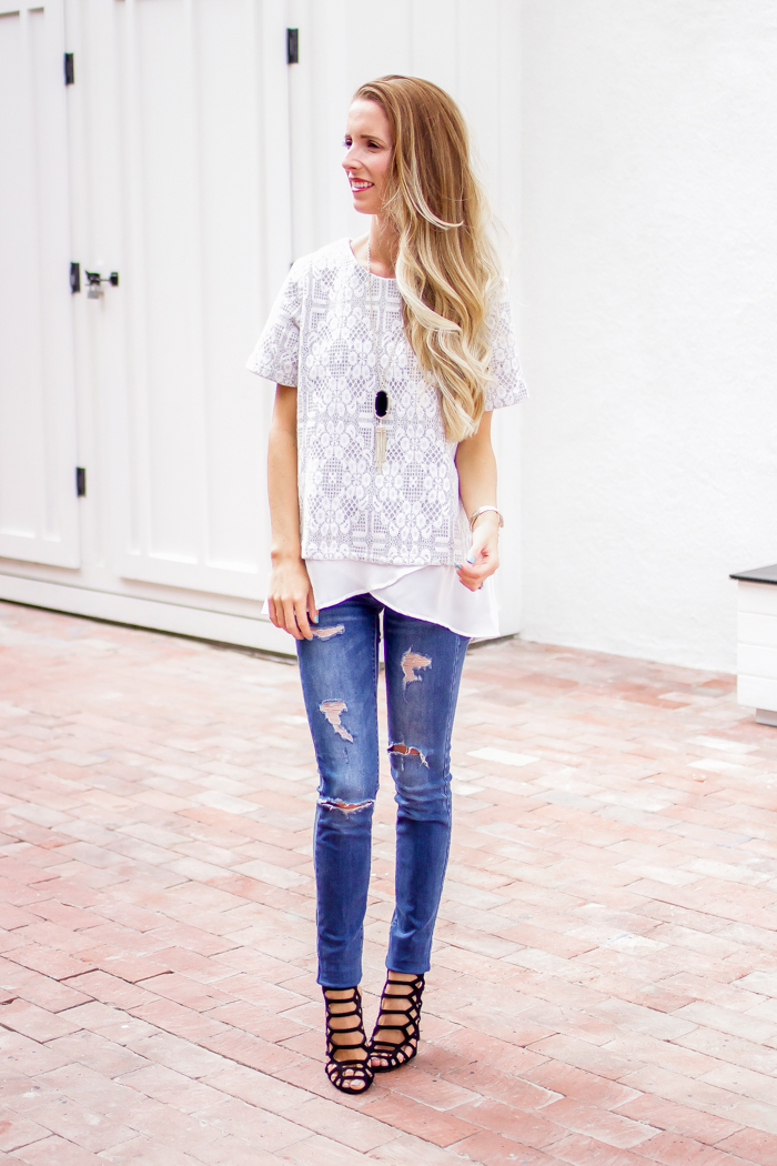 Lace Top, Distressed Jeans, and Heels