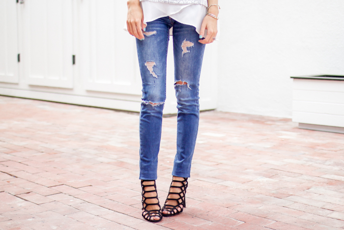 Distressed Jeans and Caged Heels
