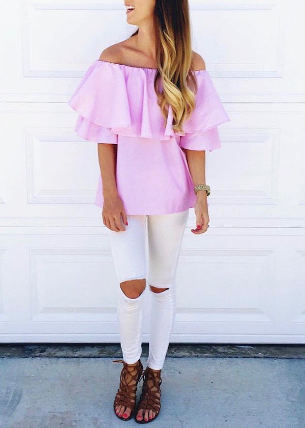 Pink Off The Shoulder Top Outfit
