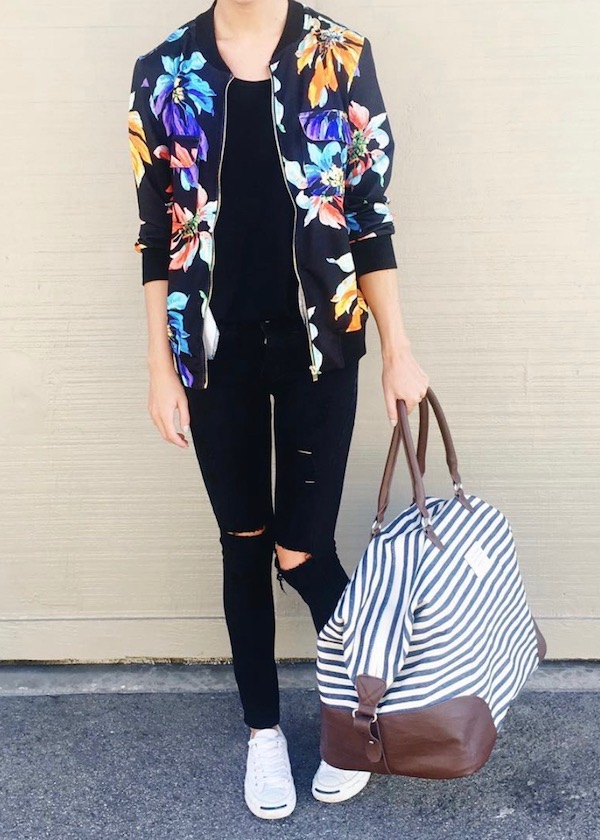 Floral Bomber Travel Outfit