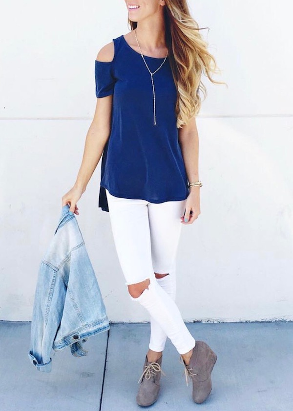 Navy Colder Shoulder Top Outfit