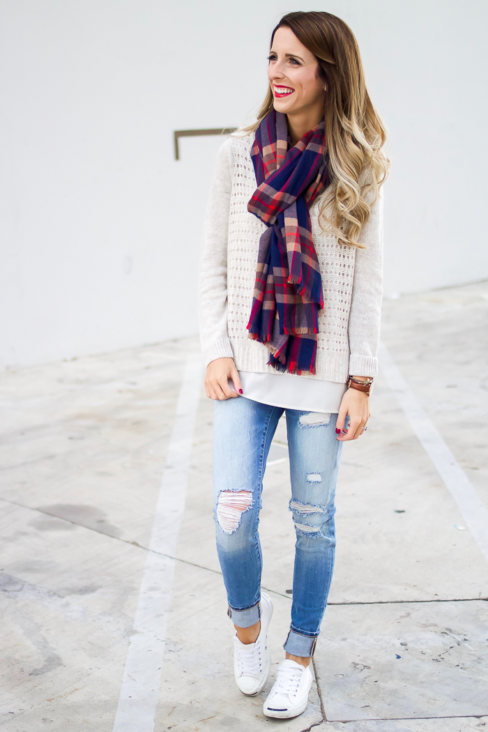 Distressed Denim and Scarf