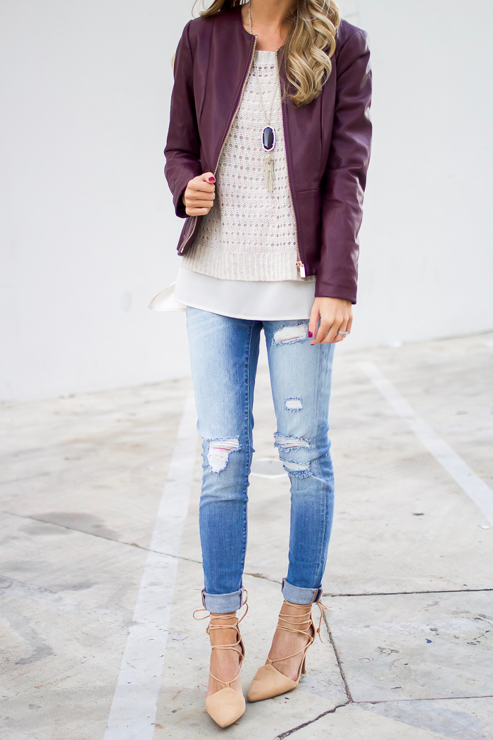 Leather Jacket and Distressed Denim Outfit