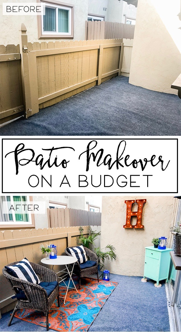 Patio makeover on a budget happily howards for Deck makeover on a budget