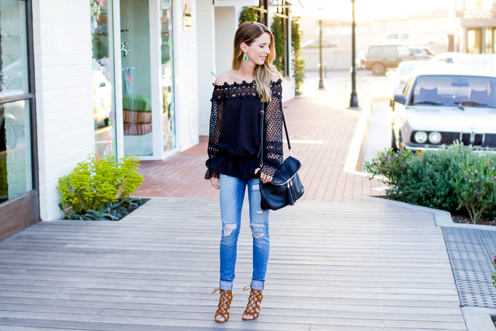 Black off the shoulder top outfit