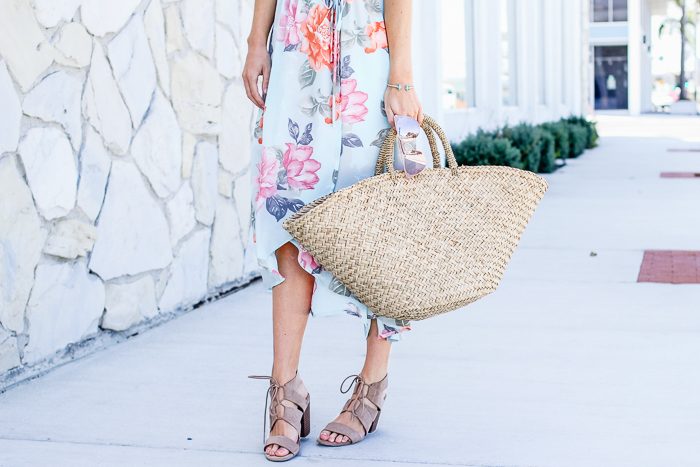 Floral Dress and Straw Tote